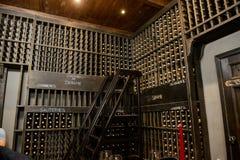 La salle de vin avec beaucoup de buttles image libre de droits