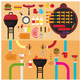 La salsa determinada de la salchicha de la sal del corte de la hamburguesa del Bbq del vector asó a la parrilla la fruta plano Imagen de archivo