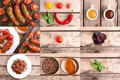 La salsiccia con ingredien Fotografia Stock Libera da Diritti
