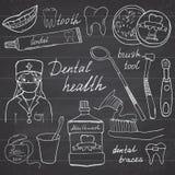 La salud dental garabatea los iconos fijados Dé el bosquejo exhausto con los dientes, el enjuague del dentista del cepillo de die Fotografía de archivo libre de regalías
