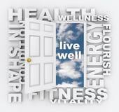La salud redacta la vida de la forma de la salud de la aptitud de la puerta sana Foto de archivo libre de regalías