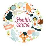 La salud y el cartel del centro del salón del BALNEARIO para el cuerpo se relajan y el tratamiento del skincare de la mujer ilustración del vector