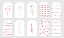 La salutation étiquette avec les éléments tirés par la main mignons pour le jour du ` s de Valentine Photos libres de droits