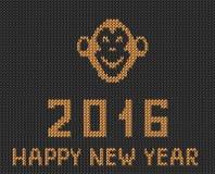 La salutation orange grise de nouvelle année a tricoté le modèle avec le singe Images libres de droits