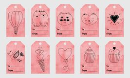 La salutation rose d'aquarelle étiquette avec les éléments tirés par la main mignons pour Image libre de droits