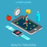 La salute che segue il telefono della tecnologia esegue il vettore 3d piano isometrico Fotografia Stock Libera da Diritti