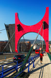 La Salve Bridge  in  Bilbao,  Spain. BILBAO, SPAIN - JULY 4, 2015:  La Salve Bridge  in  Bilbao,  Spain Royalty Free Stock Photos