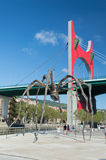 La Salve bridge and The giant spider. Bilbao Stock Photos