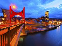 La Salve Bridge and The Guggenheim Museum Bilbao. Night view of La Salve Bridge and The Guggenheim Museum in Bilbao, Biscay, Basque Country, Spain Royalty Free Stock Photography
