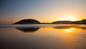 la San Sebastian för strandconchagipuzkoa Arkivfoton
