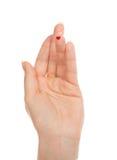 La sangre de la carne hiere la muestra del corazón del finger del paciente de la diabetes Foto de archivo libre de regalías