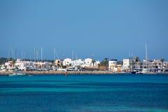 La-Savina Sabina-Dorf und -jachthafen in Formentera stockfotografie