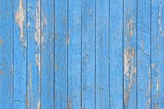 La sbucciatura blu ha dipinto le plance di legno come fondo o struttura Immagine Stock Libera da Diritti