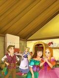 La scène de bande dessinée de deux filles bien habillées parlant et riant dans la cuisine de vintage - la troisième fille écoute  Photos libres de droits
