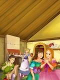 La scène de bande dessinée de deux filles bien habillées parlant et riant dans la cuisine de vintage - la troisième fille écoute  Image stock