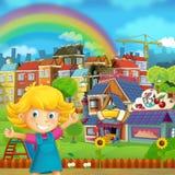 La scène de bande dessinée du terrain de jeu et l'enfant devant une sucrerie colorée de bâtiment font des emplettes - illustratio illustration libre de droits