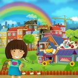 La scène de bande dessinée du terrain de jeu et l'enfant devant une sucrerie colorée de bâtiment font des emplettes - illustratio illustration stock