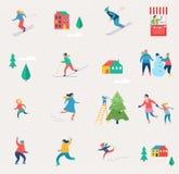 La scène de sport d'hiver, le festival de Noël et justes, des familles avec des enfants font l'amusement Photos stock