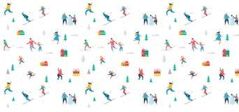 La scène de sport d'hiver, le festival de Noël et justes, des familles avec des enfants font l'amusement Images stock