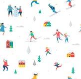 La scène de sport d'hiver, le festival de Noël et justes, des familles avec des enfants font l'amusement Photographie stock libre de droits