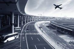 La scène du bâtiment d'aéroport Photo stock