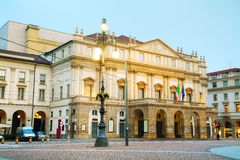 La Scaka opera house building in Milan, Italy. Early in the morning Royalty Free Stock Photo