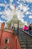 La scala che conduce alla torre della bandiera Fotografie Stock