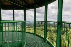 La scala a chiocciola e l'inferriata verdi sull'allerta si elevano Fotografie Stock