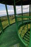 La scala a chiocciola e l'inferriata verdi sull'allerta si elevano Immagini Stock Libere da Diritti