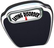 La scala di disordine alimentare esprime il problema di salute di bulimia di anoressia Fotografia Stock