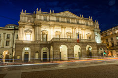 La Scala by night. La Scala theater in the evening in Milan, Italy Royalty Free Stock Photo