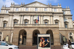 La Scala, opera house of Milan, Italy. The Teatro alla Scala is a world-renowned opera house in in the Italian city of Milano. The theatre was built on the Stock Photo