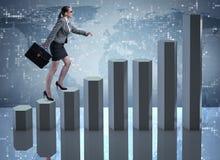 La scala rampicante di carriera della donna di affari come mediatore del commerciante Immagini Stock