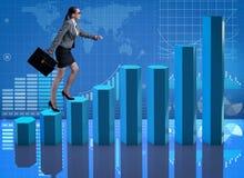 La scala rampicante di carriera della donna di affari come mediatore del commerciante Fotografia Stock Libera da Diritti
