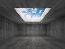 La scala va al cielo fuori dall'interno concreto scuro, 3d Fotografia Stock