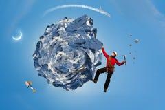 La scalata estrema è la sua adrenalina Media misti Immagine Stock Libera da Diritti