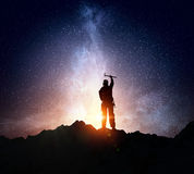La scalata estrema è la sua adrenalina Media misti Fotografia Stock Libera da Diritti