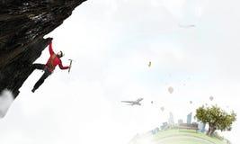 La scalata estrema è la sua adrenalina Media misti Fotografie Stock Libere da Diritti