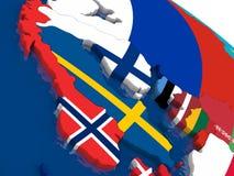 La Scandinavie sur la carte 3D avec des drapeaux illustration de vecteur