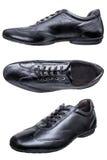 La scarpa calza l'insieme casuale del nero della piuma degli uomini isolato Immagini Stock