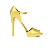 La scarpa delle donne dell'oro Fotografie Stock