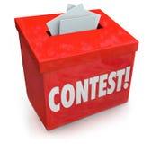 La scatola della forma di entrata di concorso entra nel premio di tombola del disegno di vittoria Fotografie Stock
