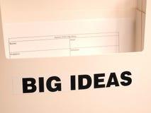 La scatola della raccolta ha identificato le grandi idee con la forma vuota fotografia stock libera da diritti