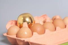 La scatola delle uova del cartone con dorato ed il pollo eggs su backgroun grigio fotografia stock libera da diritti