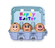 La scatola di piccola gente eggs pasqua felice Fotografia Stock Libera da Diritti