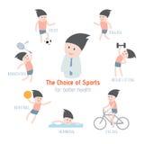 La scelta degli sport per migliore salute Fotografie Stock Libere da Diritti