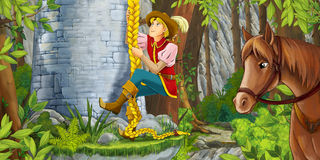 La scena del fumetto di una donna anziana che guarda come un nobile sta scalando sulla torre Fotografia Stock Libera da Diritti