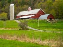La scena dell'azienda agricola del Vermont con il silo rosso del granaio sistema il cavallo Immagine Stock Libera da Diritti