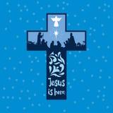 La scena della nascita degli stregoni e dei pastori di Jesus Christ The è venuto ad adorare il bambino royalty illustrazione gratis