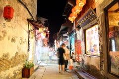 La scena della notte nella città antica di Xitang, provincia di Zhejiang, Cina Fotografie Stock Libere da Diritti